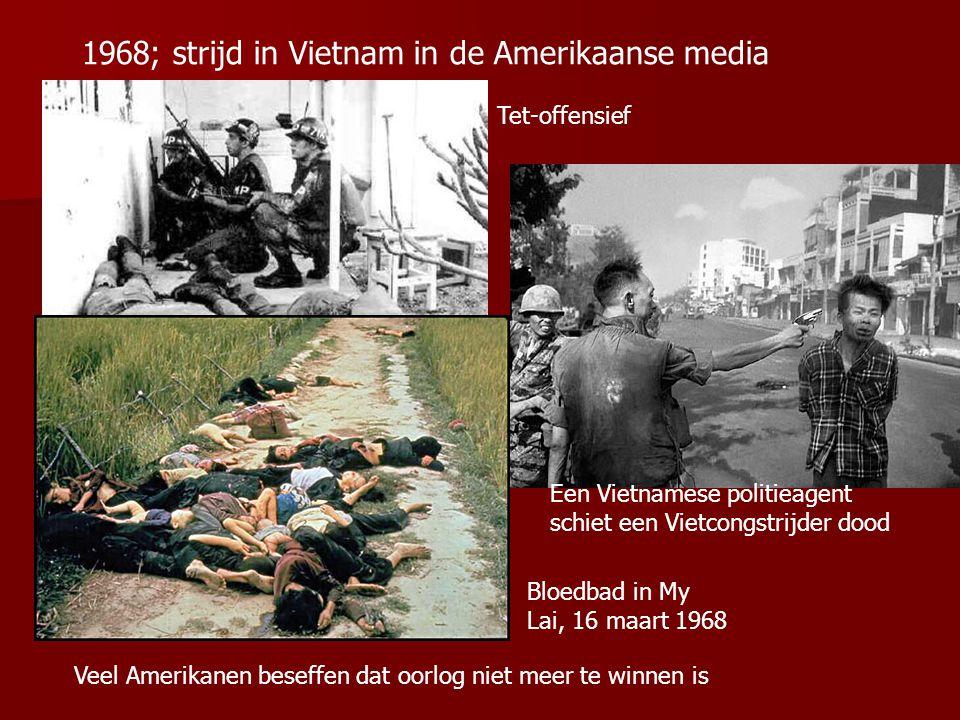 Een Vietnamese politieagent schiet een Vietcongstrijder dood Veel Amerikanen beseffen dat oorlog niet meer te winnen is 1968; strijd in Vietnam in de