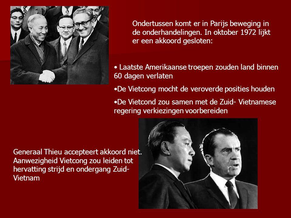 Ondertussen komt er in Parijs beweging in de onderhandelingen. In oktober 1972 lijkt er een akkoord gesloten: Laatste Amerikaanse troepen zouden land