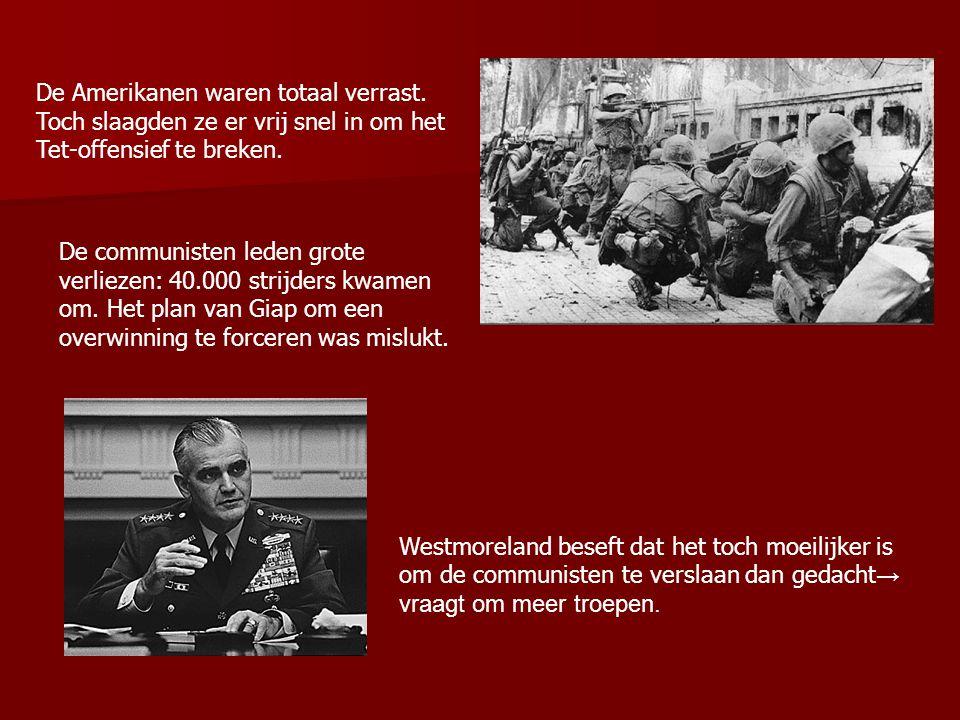 Johnson en met hem vele Amerikanen beseffen dat oorlog op korte termijn niet te winnen is → weigert extra troepen te sturen Op 31 maart 1968 maakte Johnson bekend te stoppen met de bombardementen op Noord- Vietnam en te gaan onderhandelen over vrede.