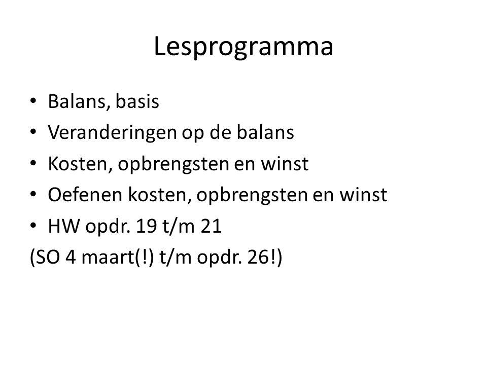 Lesprogramma Balans, basis Veranderingen op de balans Kosten, opbrengsten en winst Oefenen kosten, opbrengsten en winst HW opdr. 19 t/m 21 (SO 4 maart