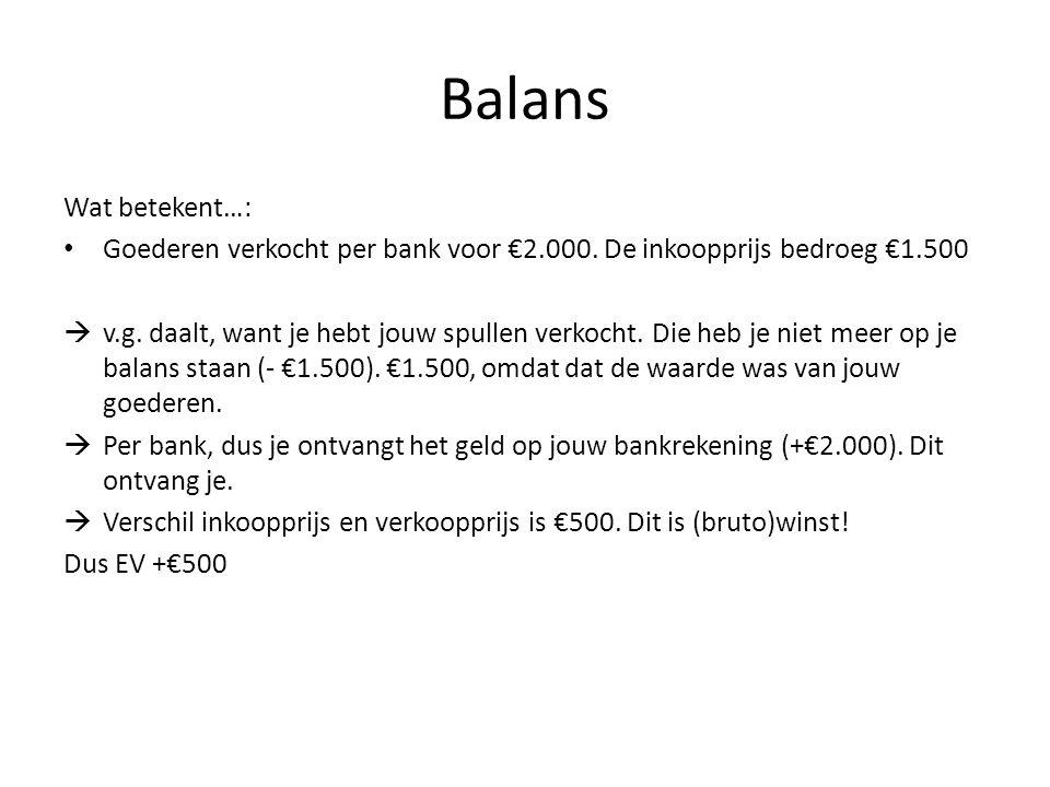 Balans Wat betekent…: Goederen verkocht per bank voor €2.000. De inkoopprijs bedroeg €1.500  v.g. daalt, want je hebt jouw spullen verkocht. Die heb
