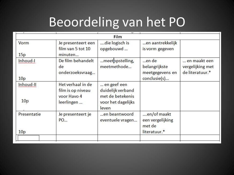 Beoordeling van het PO In het onderstaande schema staan de verschillende onderdelen en de daarbij te behalen punten