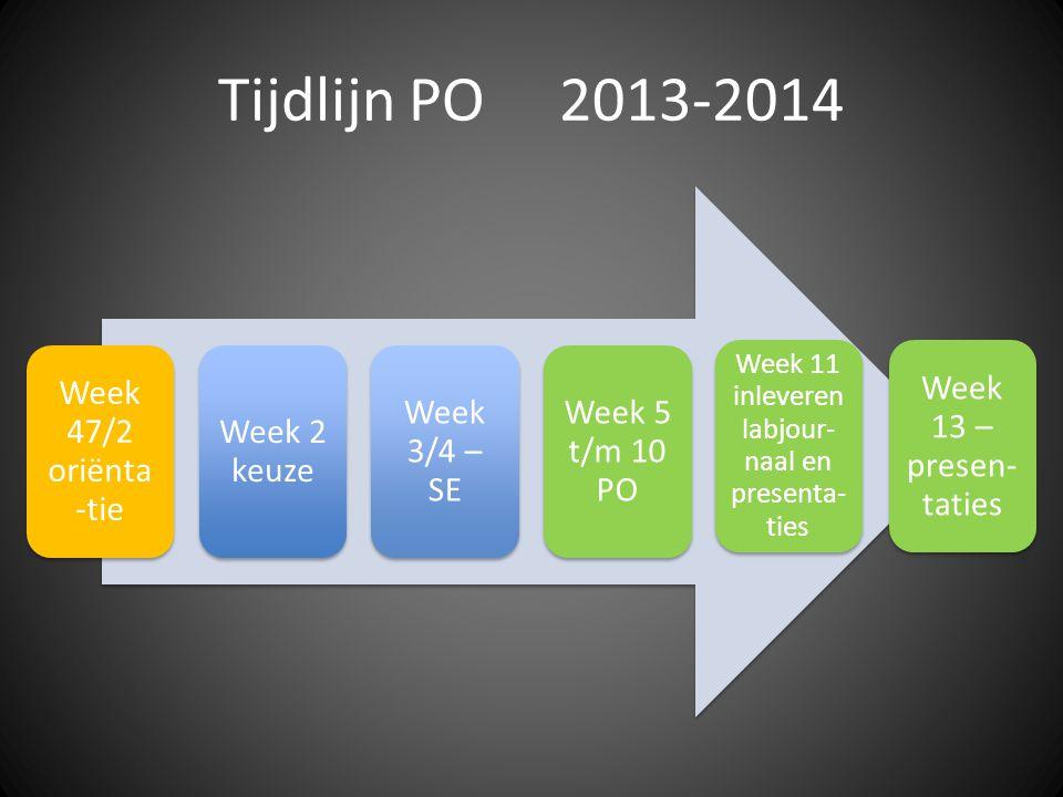 Tijdlijn PO 2013-2014 Week 47/2 oriënta -tie Week 2 keuze Week 3/4 – SE Week 5 t/m 10 PO Week 11 inleveren labjour- naal en presenta- ties Week 13 – presen- taties