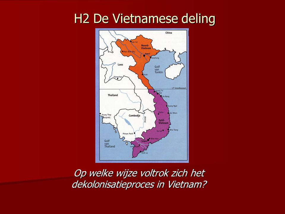 Tot 1950 krijgt de Vietminh geen enkele buitenlandse steun 1949 China wordt communistisch → willen Vietnamese kameraden graag helpen evenals de Russen → leveren wapens en adviseurs Amerikanen reageren direct; Door Fransen ingestelde regering wordt erkend en Vietnam gezien als zelfstandige staat die nauw verbonden was met Frankrijk.