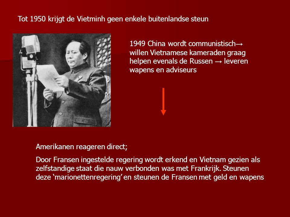 1946 Fransen troepen keren terug. Amerikanen laten de Fransen hun gang gaan omdat ze wisten dat de Vietminh onder communistische leiding stond en ze d