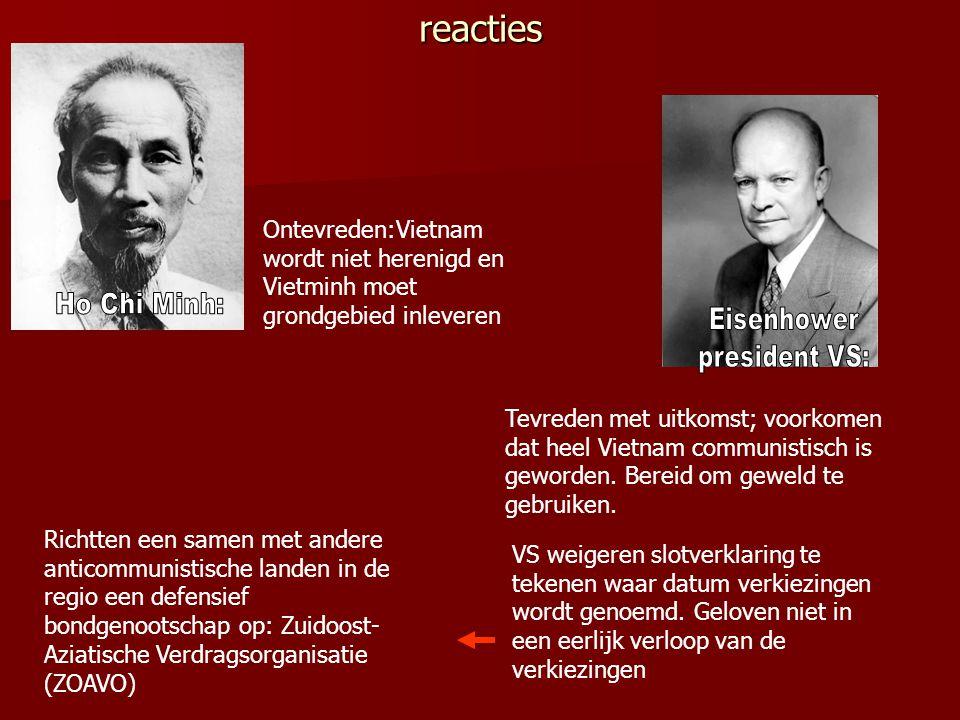 Akkoord: Vietnam wordt tijdelijk in tweeën gedeeld Vietnam wordt tijdelijk in tweeën gedeeld Vietminh trekt zich terug ten noorden van 17e breedtegraa