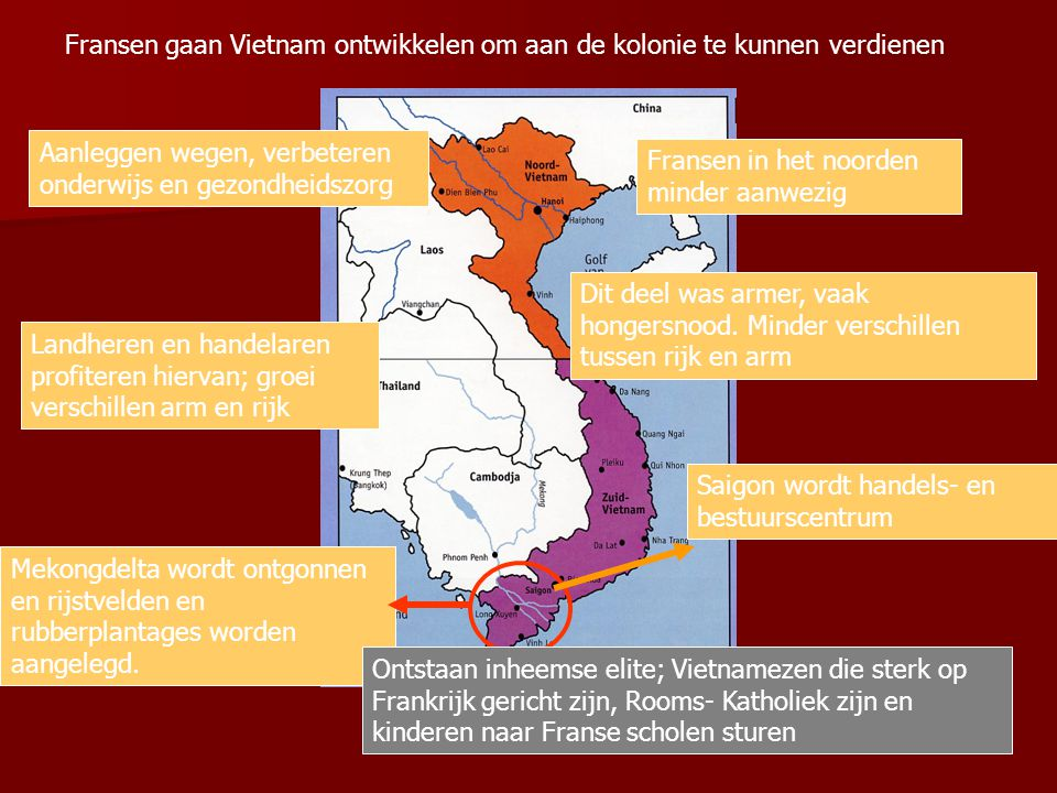 2.1 Vietnam onder de Fransen Vietnam nauwelijks economisch ontwikkeld; 90% bevolking boer Motieven Franse verovering: Macht en eer Economische belange
