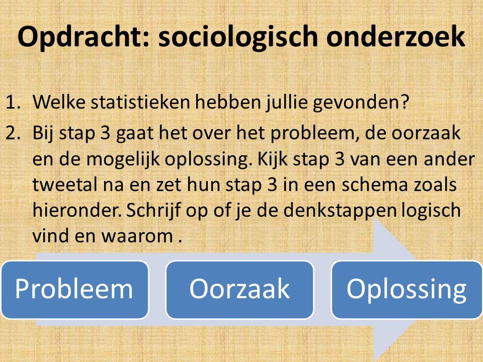 Opdracht: sociologisch onderzoek 1.Welke statistieken hebben jullie gevonden? 2.Bij stap 3 gaat het over het probleem, de oorzaak en de mogelijk oplos