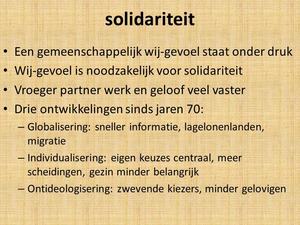 solidariteit Een gemeenschappelijk wij-gevoel staat onder druk Wij-gevoel is noodzakelijk voor solidariteit Vroeger partner werk en geloof veel vaster