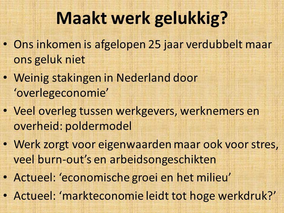Maakt werk gelukkig? Ons inkomen is afgelopen 25 jaar verdubbelt maar ons geluk niet Weinig stakingen in Nederland door 'overlegeconomie' Veel overleg