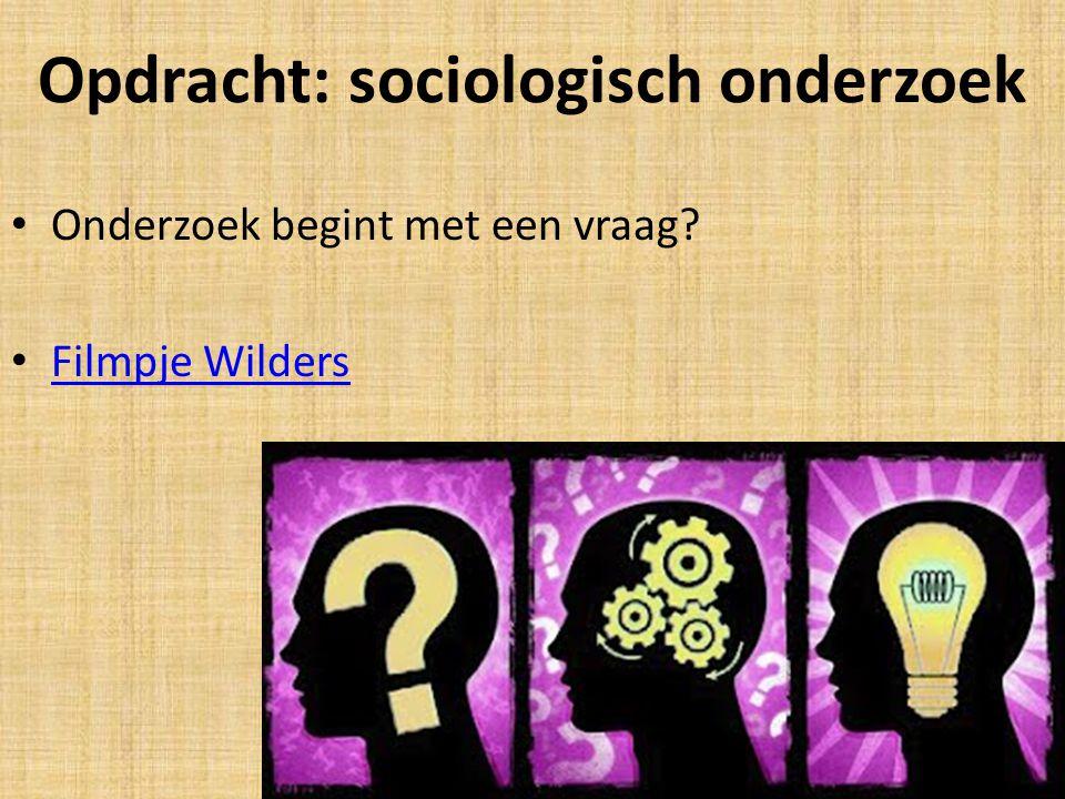 Opdracht: sociologisch onderzoek Onderzoek begint met een vraag Filmpje Wilders