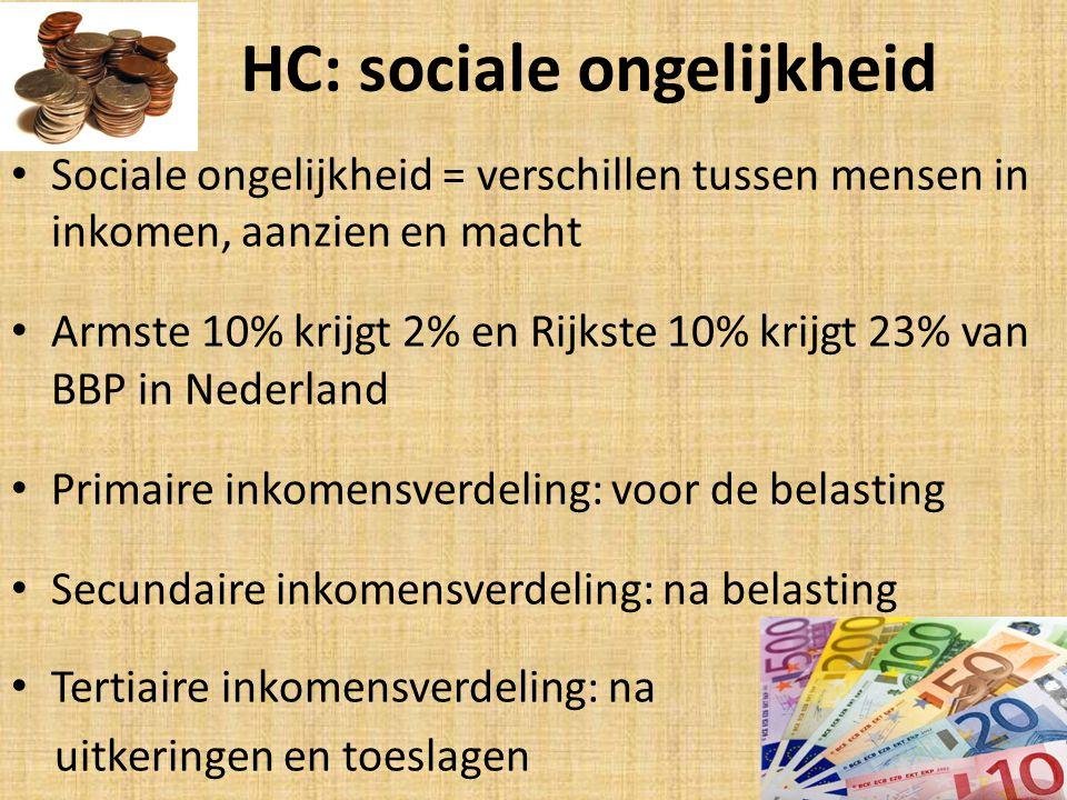 HC: sociale ongelijkheid Sociale ongelijkheid = verschillen tussen mensen in inkomen, aanzien en macht Armste 10% krijgt 2% en Rijkste 10% krijgt 23% van BBP in Nederland Primaire inkomensverdeling: voor de belasting Secundaire inkomensverdeling: na belasting Tertiaire inkomensverdeling: na uitkeringen en toeslagen