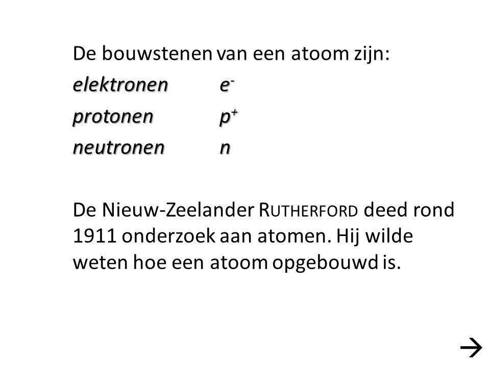 De bouwstenen van een atoom zijn: elektronene - protonenp + neutronenn De Nieuw-Zeelander R UTHERFORD deed rond 1911 onderzoek aan atomen. Hij wilde w