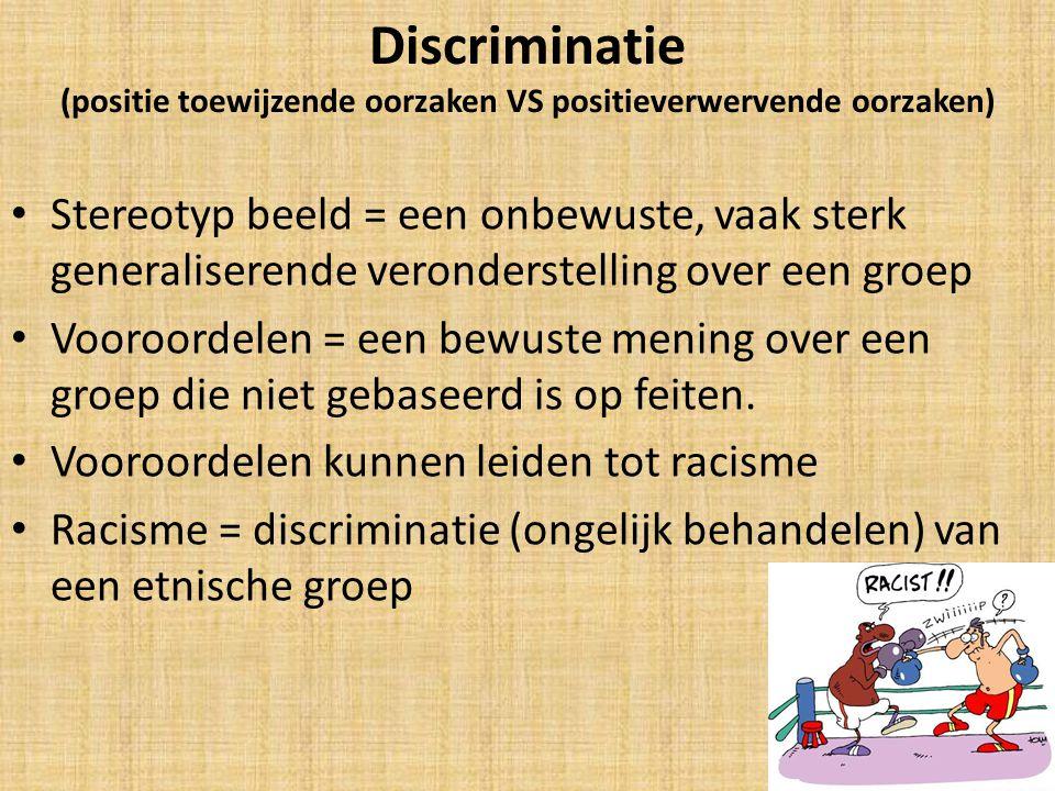 Discriminatie (positie toewijzende oorzaken VS positieverwervende oorzaken) Stereotyp beeld = een onbewuste, vaak sterk generaliserende veronderstelling over een groep Vooroordelen = een bewuste mening over een groep die niet gebaseerd is op feiten.