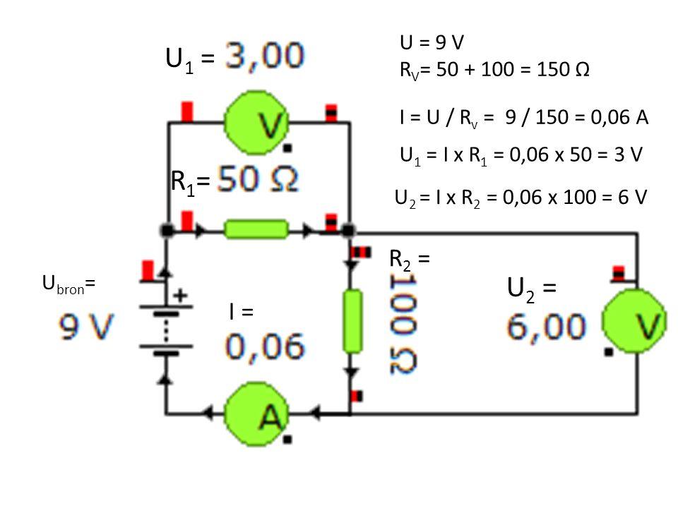 I = U 2 = U 1 = R 2 = U = 9 V R V = 50 + 100 = 150 Ω I = U / R v = 9 / 150 = 0,06 A U 1 = I x R 1 = 0,06 x 50 = 3 V U 2 = I x R 2 = 0,06 x 100 = 6 V U