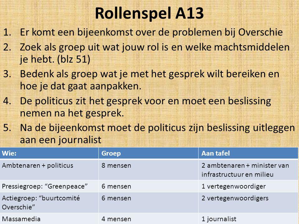 Rollenspel A13 1.Er komt een bijeenkomst over de problemen bij Overschie 2.Zoek als groep uit wat jouw rol is en welke machtsmiddelen je hebt.