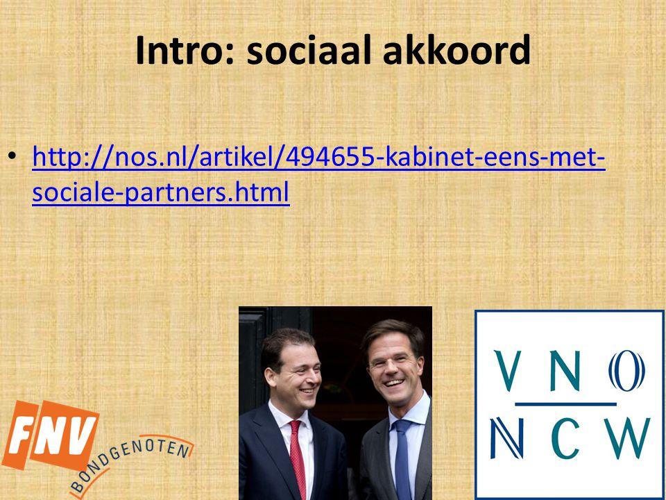 Intro: sociaal akkoord http://nos.nl/artikel/494655-kabinet-eens-met- sociale-partners.html http://nos.nl/artikel/494655-kabinet-eens-met- sociale-partners.html