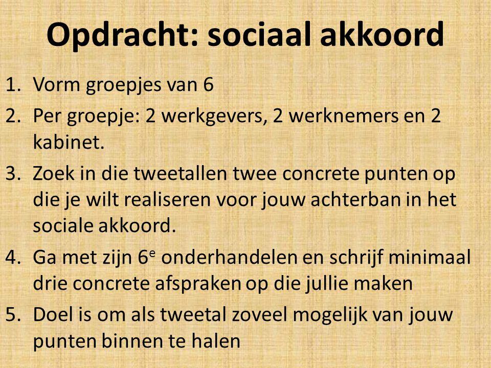Opdracht: sociaal akkoord 1.Vorm groepjes van 6 2.Per groepje: 2 werkgevers, 2 werknemers en 2 kabinet.