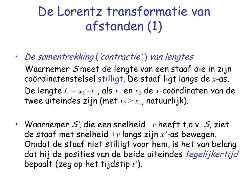 De Lorentz transformatie van afstanden (1) De samentrekking ('contractie' ) van lengtes Waarnemer S meet de lengte van een staaf die in zijn coördinatenstelsel stilligt.