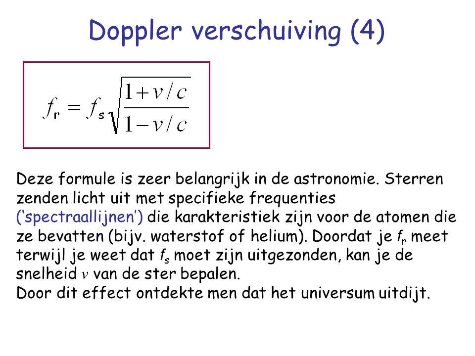 Doppler verschuiving (4) Deze formule is zeer belangrijk in de astronomie. Sterren zenden licht uit met specifieke frequenties ('spectraallijnen') die