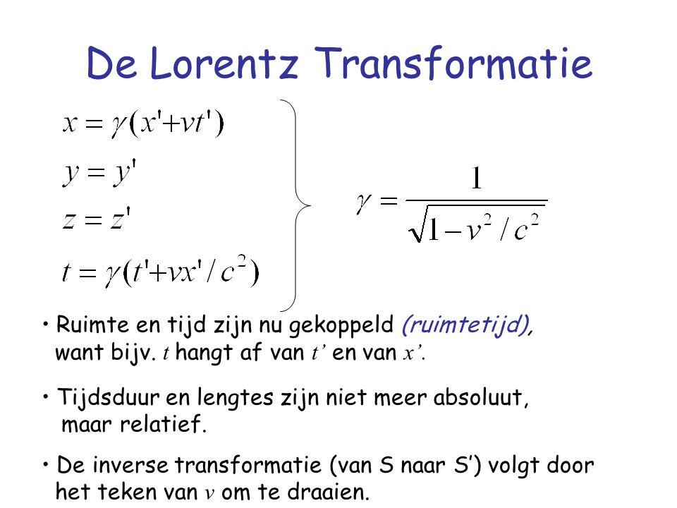 De Lorentz transformatie van afstanden (2) Waarnemer S' bepaalt dus twee gebeurtenissen: het ene uiteinde meet hij als x 1 ', t 1 ' (y 1 ' = z 1 '= 0) en het andere uiteinde meet hij als x 2 ', t 2 ' ; waarbij, omdat beide metingen tegelijkertijd plaatsvinden, t 1 ' = t 2 '.