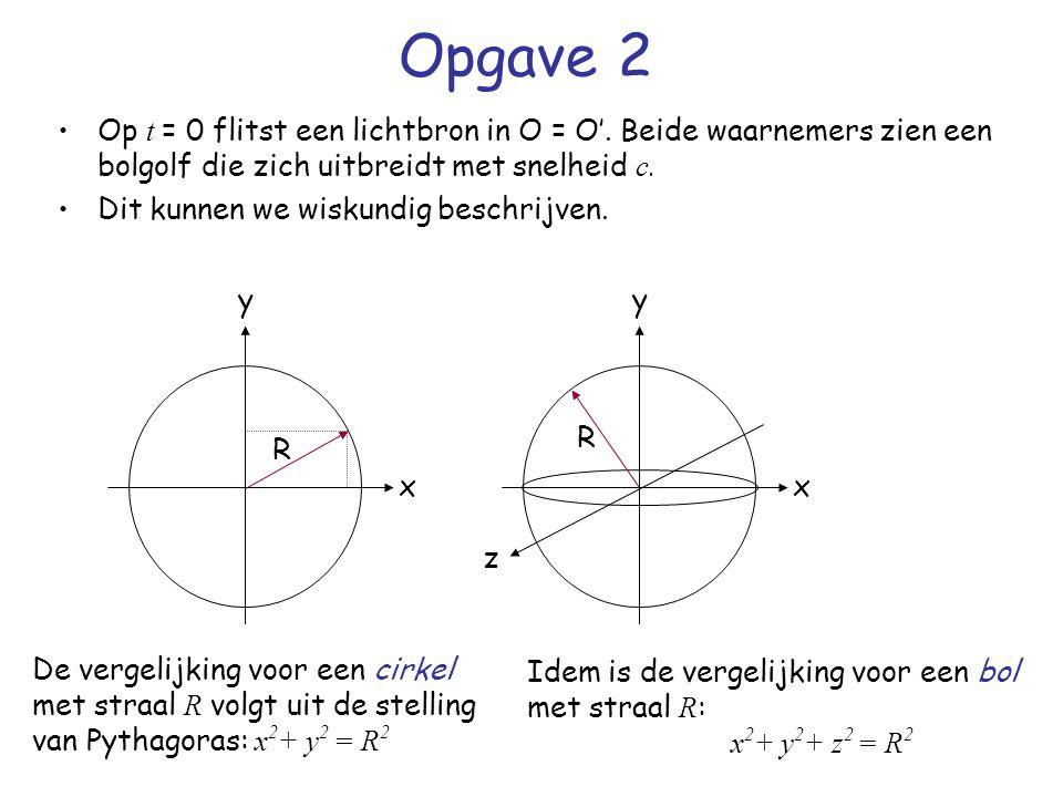 Opgave 2 Op t = 0 flitst een lichtbron in O = O'. Beide waarnemers zien een bolgolf die zich uitbreidt met snelheid c. Dit kunnen we wiskundig beschri