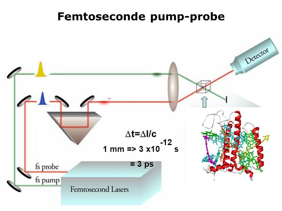 Femtoseconde pump-probe  t=  l/c 1 mm => 3 x10 -12 s = 3 ps