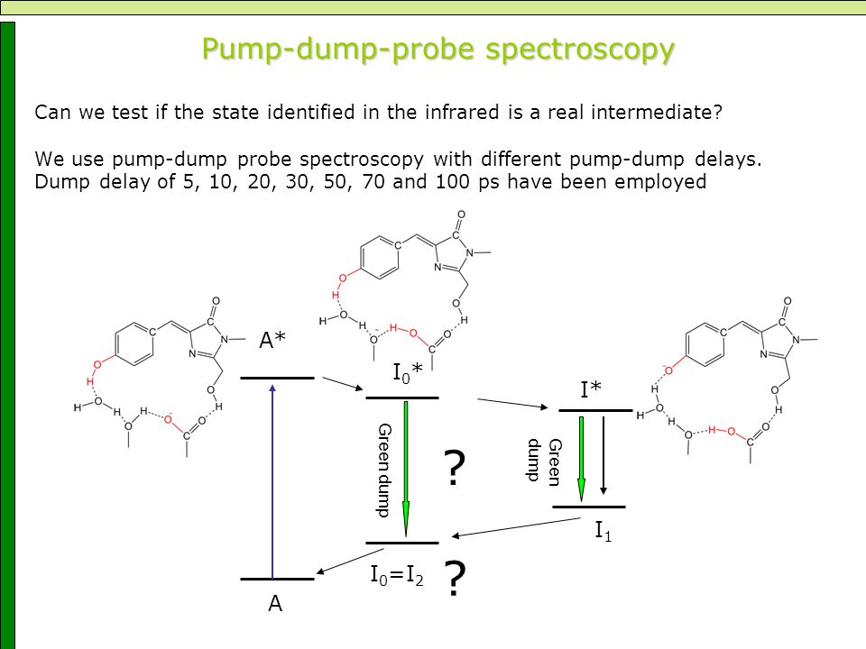 Pump-dump-probe spectroscopy Pump-dump-probe spectroscopy Can we test if the state identified in the infrared is a real intermediate.