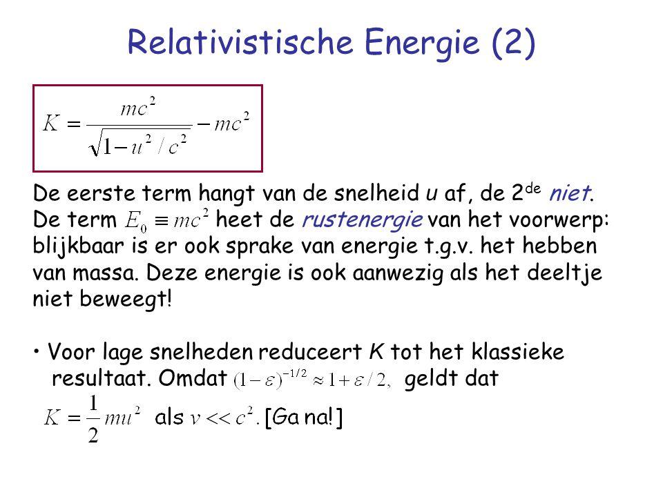 Relativistische Energie (2) De eerste term hangt van de snelheid u af, de 2 de niet. De term heet de rustenergie van het voorwerp: blijkbaar is er ook