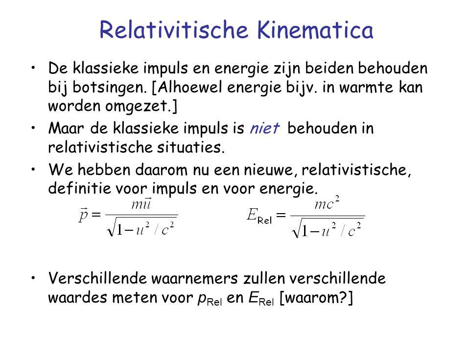 Relativitische Kinematica De klassieke impuls en energie zijn beiden behouden bij botsingen. [Alhoewel energie bijv. in warmte kan worden omgezet.] Ma
