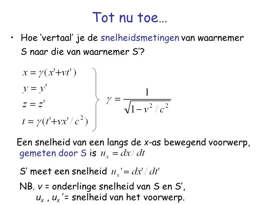 Tot nu toe… Hoe 'vertaal' je de snelheidsmetingen van waarnemer S naar die van waarnemer S'? Een snelheid van een langs de x -as bewegend voorwerp, ge