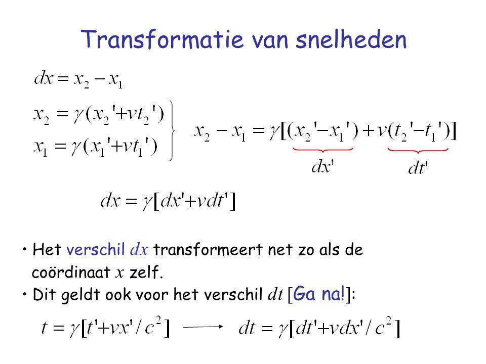 Transformatie van snelheden Het verschil dx transformeert net zo als de coördinaat x zelf. Dit geldt ook voor het verschil dt [ Ga na! ] :