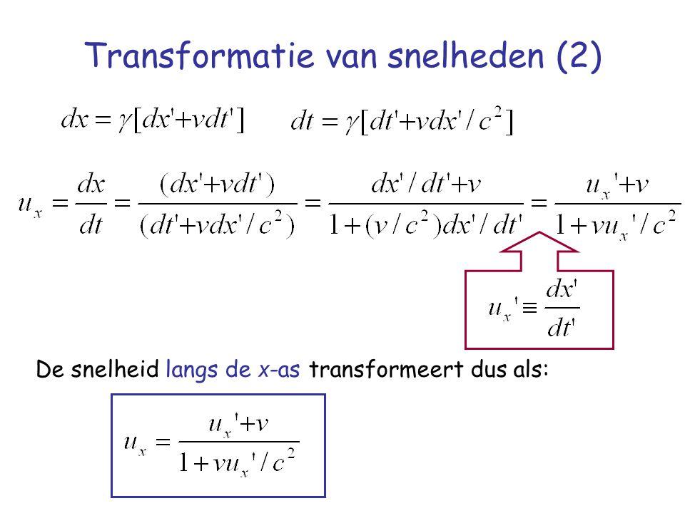 Transformatie van snelheden (2) De snelheid langs de x -as transformeert dus als: