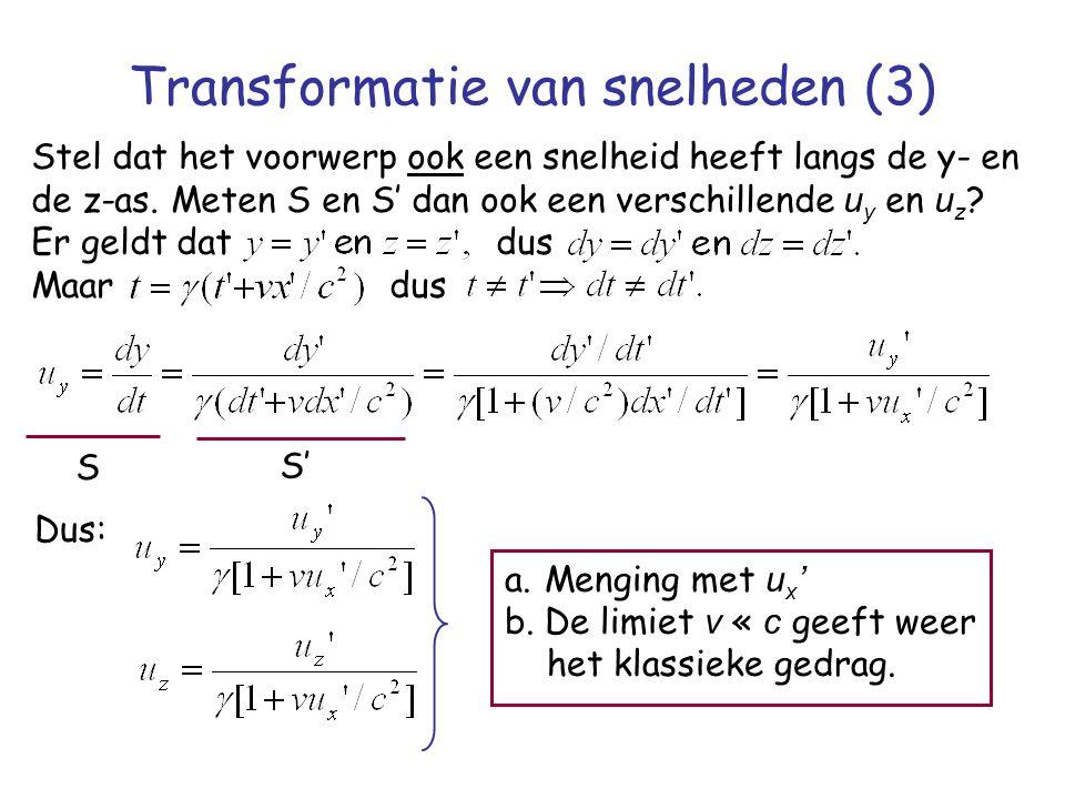 Transformatie van snelheden (3) Stel dat het voorwerp ook een snelheid heeft langs de y- en de z-as. Meten S en S' dan ook een verschillende u y en u