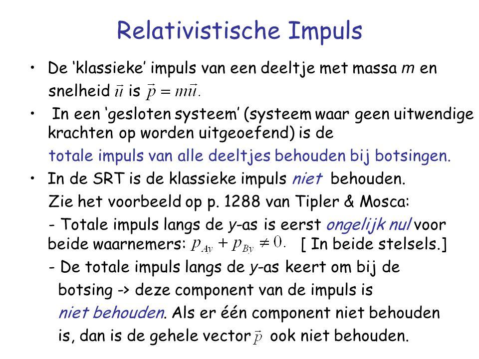 Relativistische Impuls De 'klassieke' impuls van een deeltje met massa m en snelheid is In een 'gesloten systeem' (systeem waar geen uitwendige kracht