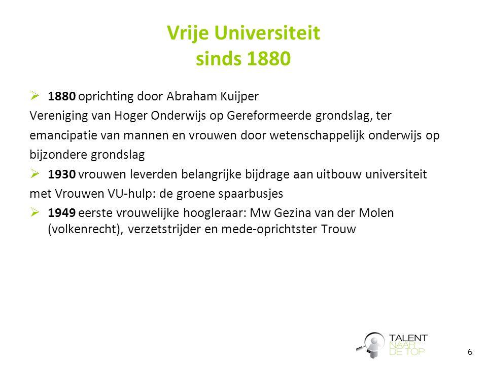 6 Vrije Universiteit sinds 1880  1880 oprichting door Abraham Kuijper Vereniging van Hoger Onderwijs op Gereformeerde grondslag, ter emancipatie van