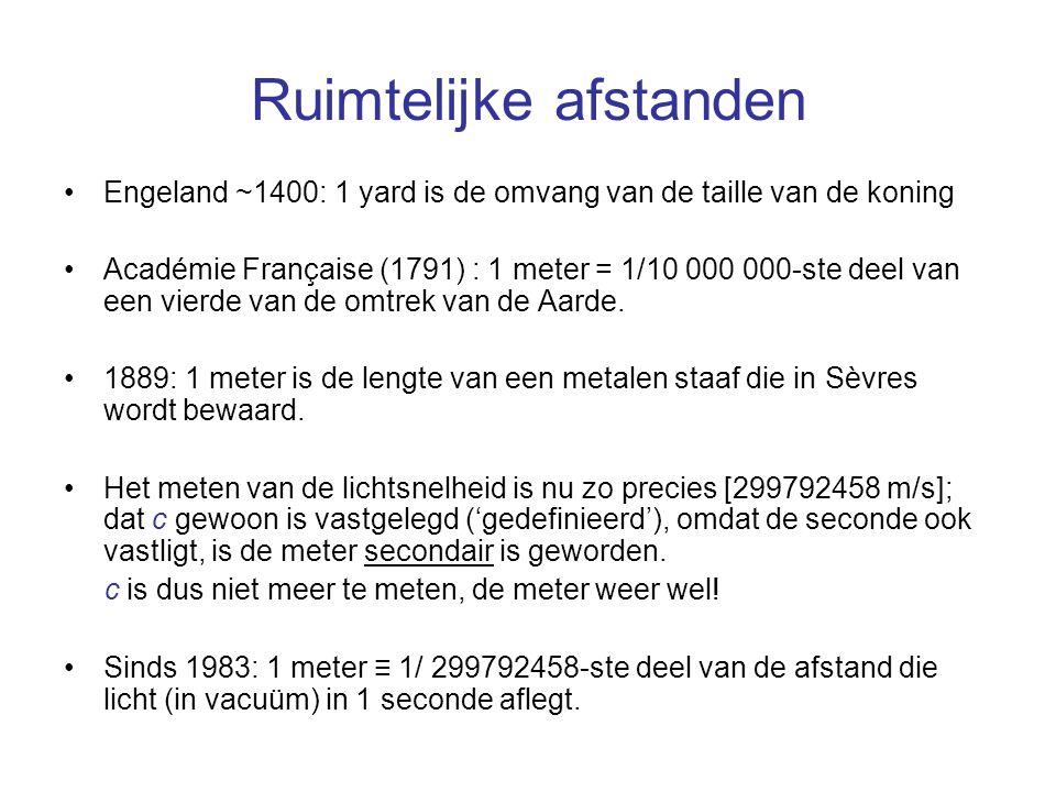 Ruimtelijke afstanden Engeland ~1400: 1 yard is de omvang van de taille van de koning Académie Française (1791) : 1 meter = 1/10 000 000-ste deel van