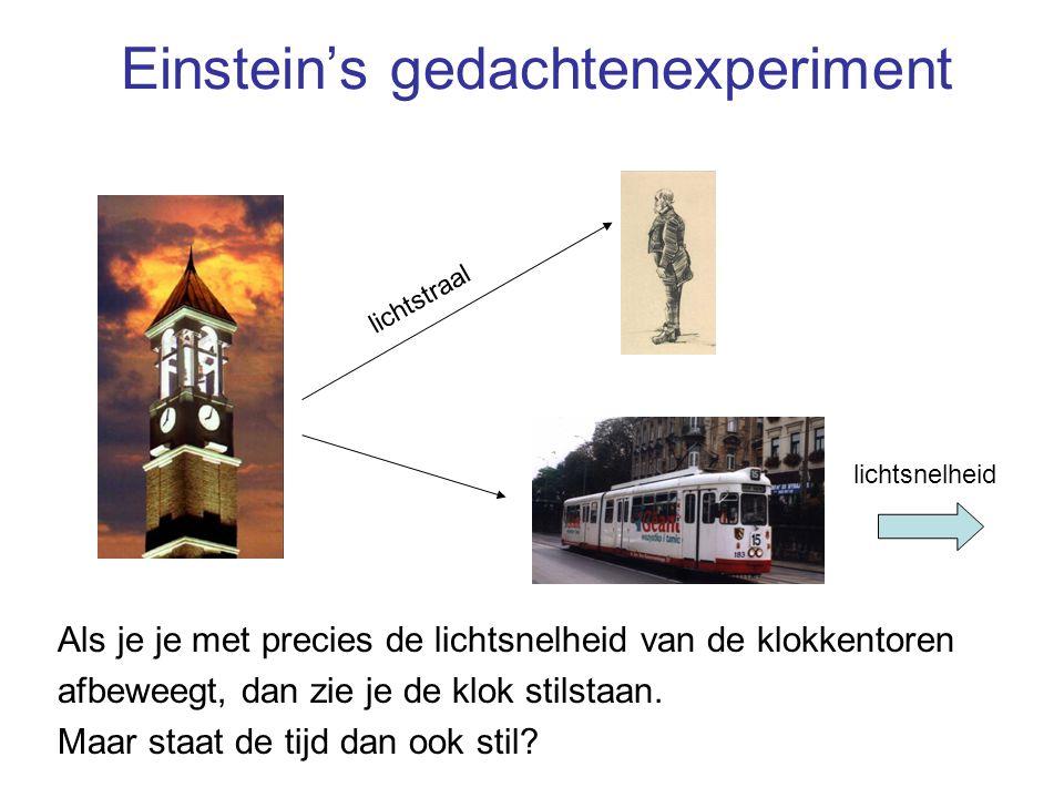 Einstein's gedachtenexperiment Als je je met precies de lichtsnelheid van de klokkentoren afbeweegt, dan zie je de klok stilstaan. Maar staat de tijd