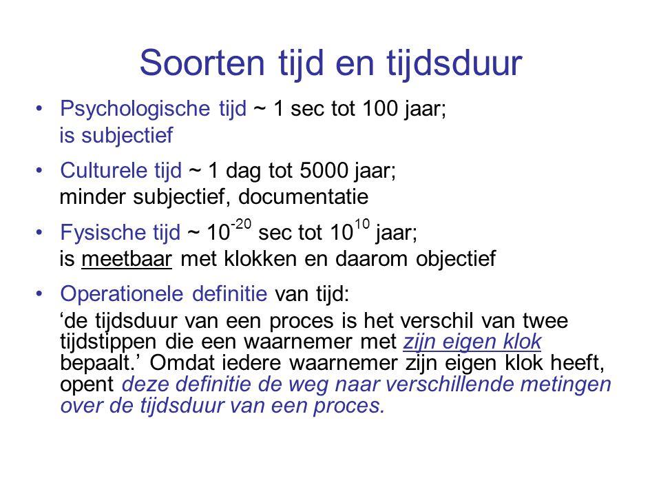 Soorten tijd en tijdsduur Psychologische tijd ~ 1 sec tot 100 jaar; is subjectief Culturele tijd ~ 1 dag tot 5000 jaar; minder subjectief, documentati