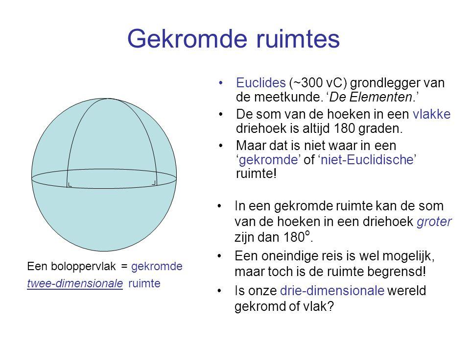 Een boloppervlak = gekromde twee-dimensionale ruimte Gekromde ruimtes Euclides (~300 vC) grondlegger van de meetkunde. 'De Elementen.' De som van de h