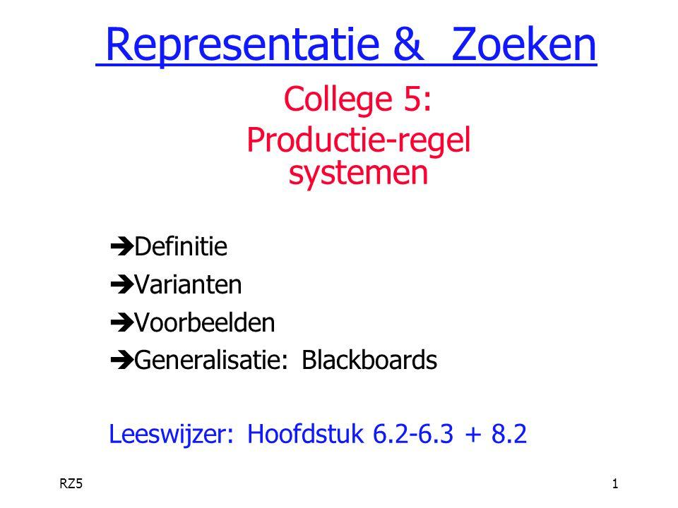 RZ51  Definitie  Varianten  Voorbeelden  Generalisatie: Blackboards Leeswijzer: Hoofdstuk 6.2-6.3 + 8.2 Representatie & Zoeken College 5: Producti