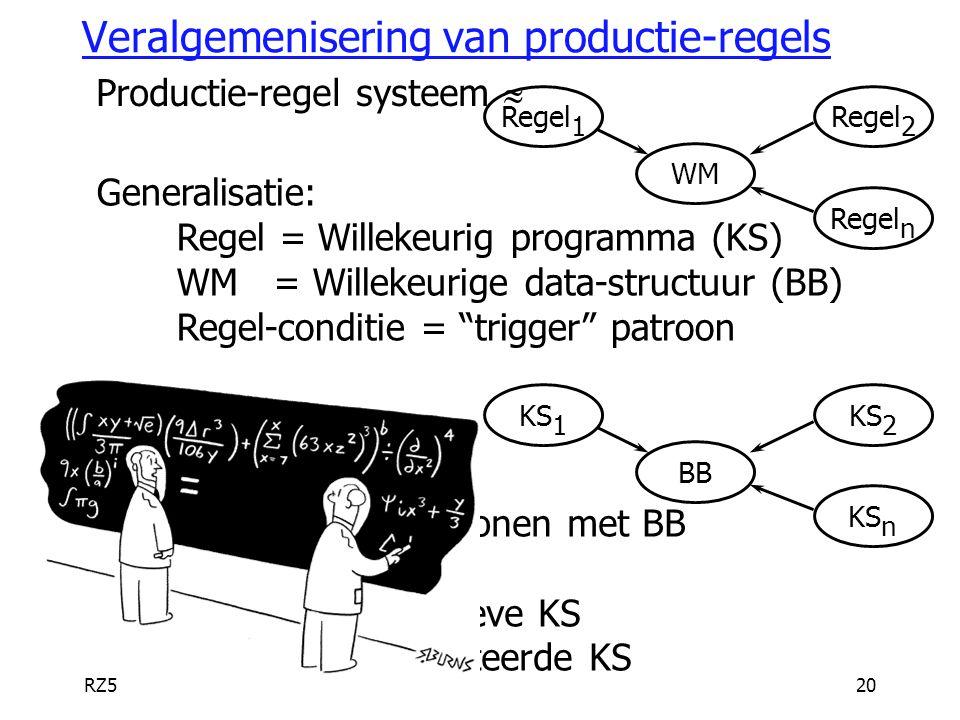 RZ520 Veralgemenisering van productie-regels Productie-regel systeem  WM Regel 2 Regel 1 Regel n Generalisatie: Regel = Willekeurig programma (KS) WM