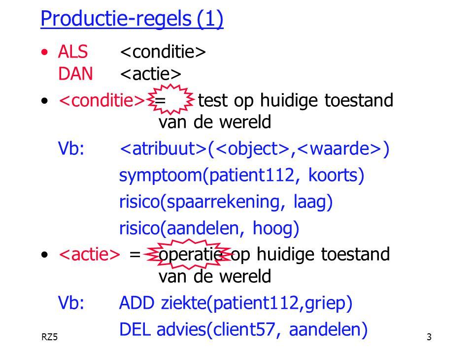 RZ54 Productie-regels (2) Regels bevatten variabelen Vb:ALS symptoom($Patient, koorts) DAN ADD ziekte($Patient, infectie) DEL ziekte($Patient, vergiftiging) Vb:ALS diagnose($Patient, $Ziekte) EN ernst($Ziekte, hoog) DAN ADD opname($Patient, urgent)