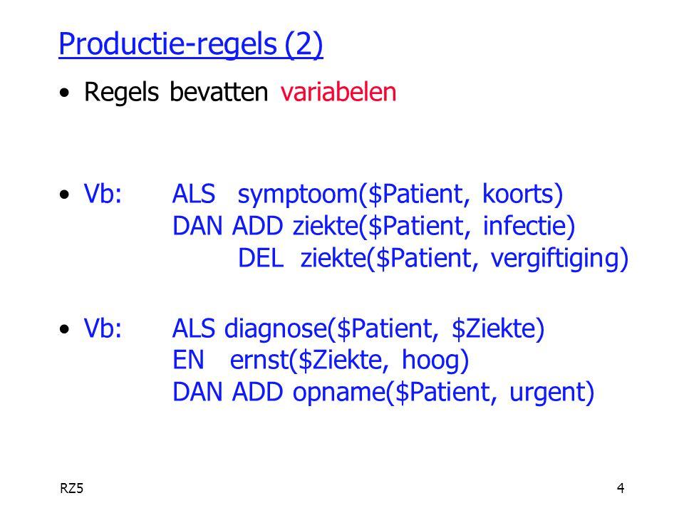 RZ54 Productie-regels (2) Regels bevatten variabelen Vb:ALS symptoom($Patient, koorts) DAN ADD ziekte($Patient, infectie) DEL ziekte($Patient, vergift