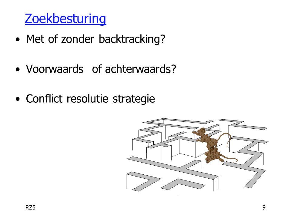 RZ59 Zoekbesturing Met of zonder backtracking? Voorwaards of achterwaards? Conflict resolutie strategie
