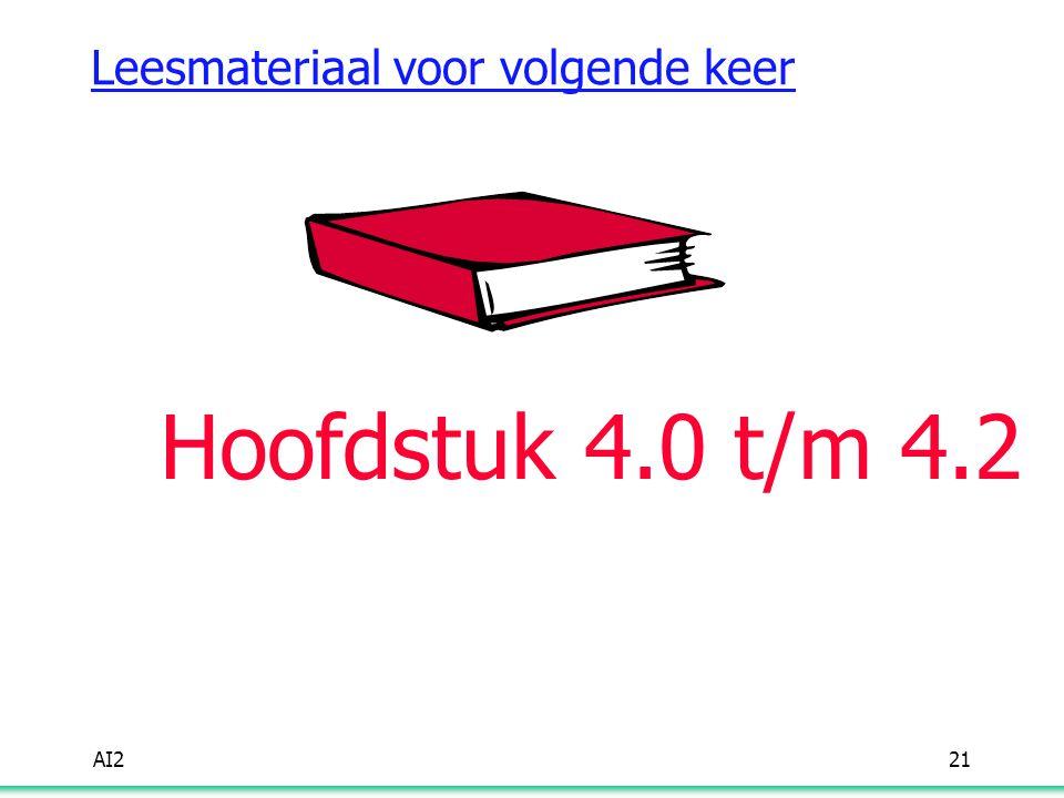 AI221 Leesmateriaal voor volgende keer Hoofdstuk 4.0 t/m 4.2