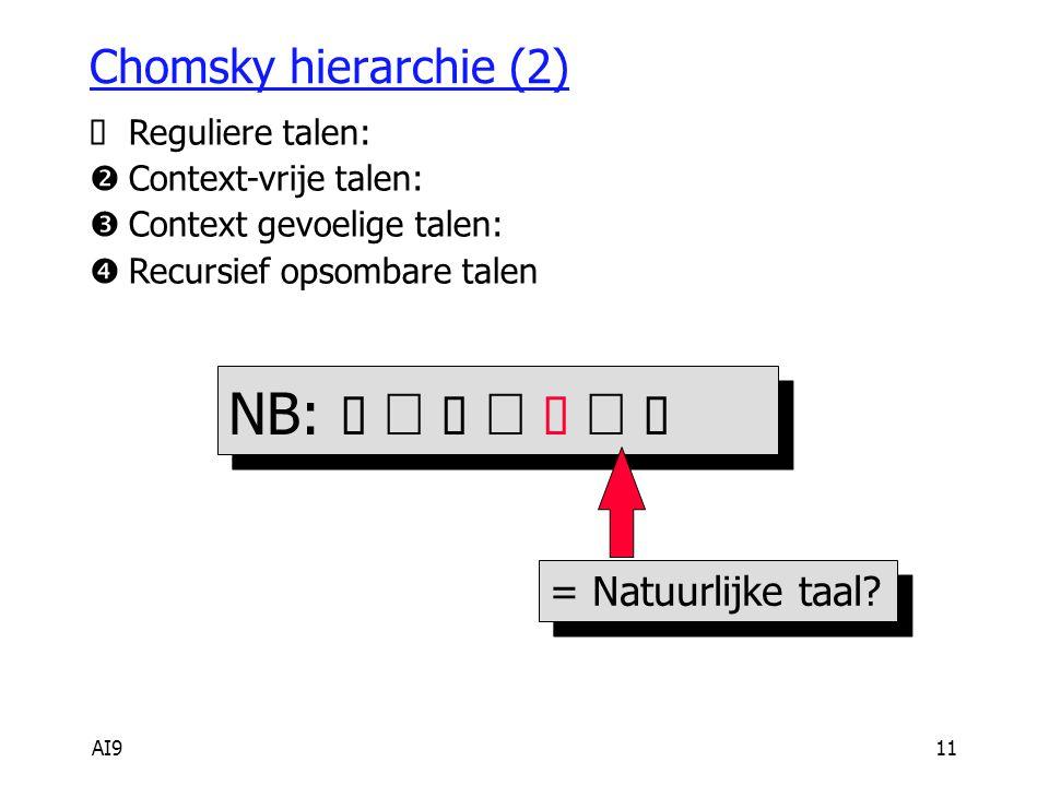 AI911 Chomsky hierarchie (2) NB:         Reguliere talen:  Context-vrije talen:  Context gevoelige talen:  Recursief opsombare talen = Natuurlijke taal