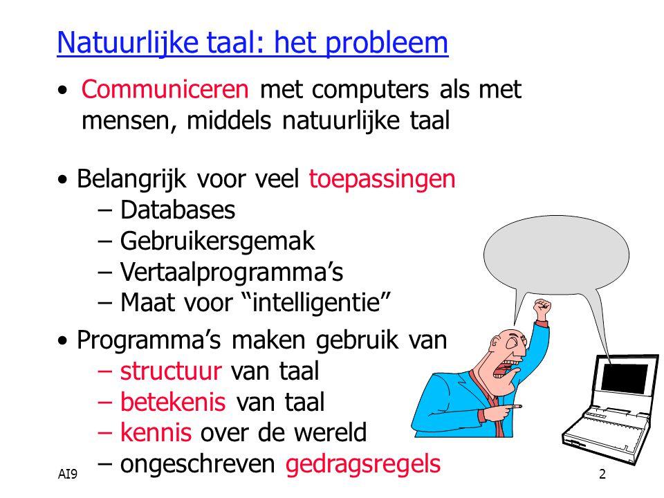 AI92 Natuurlijke taal: het probleem Communiceren met computers als met mensen, middels natuurlijke taal Belangrijk voor veel toepassingen – Databases – Gebruikersgemak – Vertaalprogramma's – Maat voor intelligentie Programma's maken gebruik van – structuur van taal – betekenis van taal – kennis over de wereld – ongeschreven gedragsregels