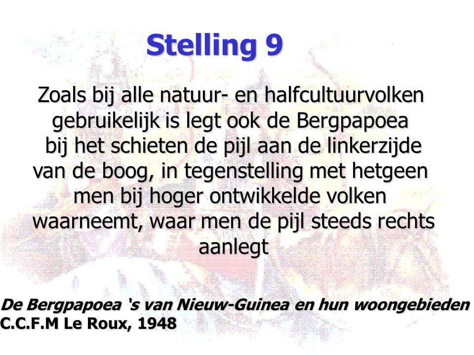 Stelling 9 Zoals bij alle natuur- en halfcultuurvolken gebruikelijk is legt ook de Bergpapoea bij het schieten de pijl aan de linkerzijde van de boog,