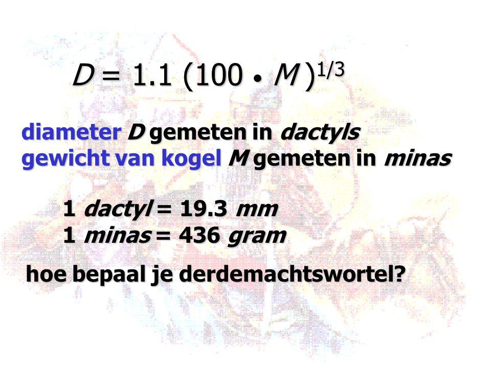 D = 1.1 (100 M ) 1/3 diameter D gemeten in dactyls gewicht van kogel M gemeten in minas 1 dactyl = 19.3 mm 1 minas = 436 gram hoe bepaal je derdemacht